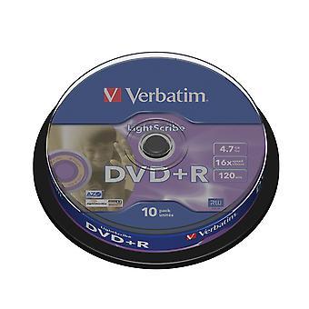 Verbatim 43576 16x dvd+r lightscribe 4.7 gb (paquete de 10)