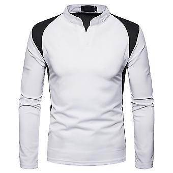 YANGFAN Men's Stand-up Collar Color Block T-shirt