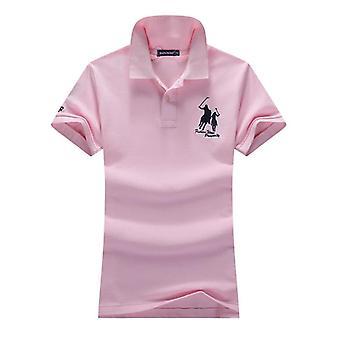 Shirts Summer, Women Turn-down Collar, Casual Short Sleeve, Cotton Solid Slim