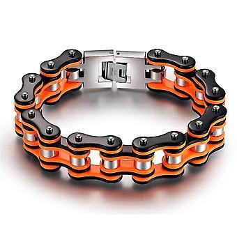 Stainless Steel Orange Black Motorcycle Chain Bracelet