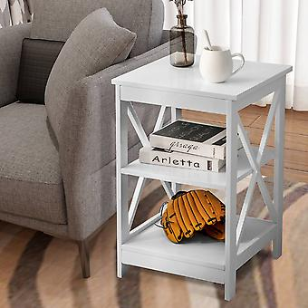 Sofa Side Table With 3 Tiers Storage