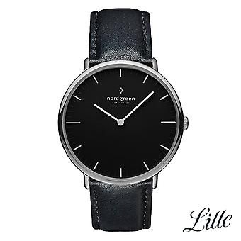 Nordgreen Ladies Native Leather Silver 32mm Watch NR32SILEBLBL