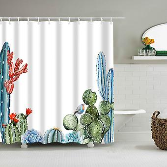 Bathroom Tropical Green Plant Leaf Palm Cactus Shower Curtain