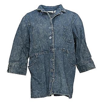 Joan Rivers Classics Collection Dames Top 3/4 Mouw Shirt Blauw A374753