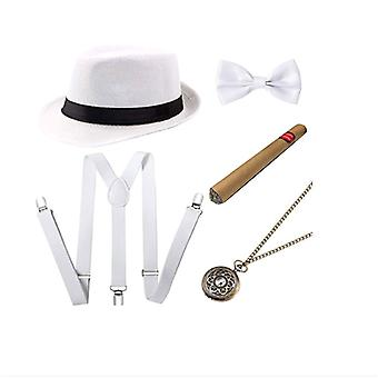Gentleman Party Outfits 5Pcs 1 Set Hat Cigar Pocket Watch Suspenders and Bow Tie White