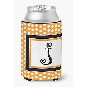 Buchstabe J ersten Monogramm - Orange Polkadots Dose oder Flasche Getränk Isolator Hugger