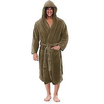 Men Winter Plus Size Long Coral Fleece Bathrobe Kimono Warm Flannel Cozy Night
