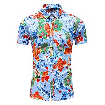 Yunyun Men's Floral Print Hawaiian Short Sleeve Vogue Beach Shirt