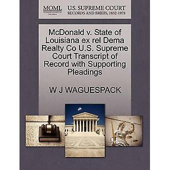 McDonald V. State of Louisiana Ex Rel Dema Realty Co U.S. Supreme Cou