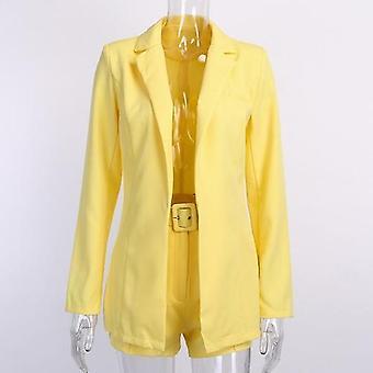 Damen Kleidung Herbst Langarm Cardigan Jacke Shorts solide Farbe