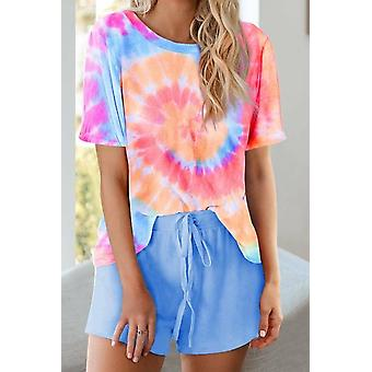 Blue Pink Tie Dye Printed Short Lounge Set