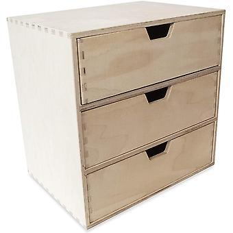 Creative Deco Schubladen-Box aus Birken-Sperrholz | 3 Schubladen | 28,5 x 20 x 28,5 cm (+/- 1 cm) |