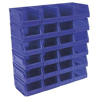 Escaninho de armazenamento de plástico de Sealey Tps224B 105 X 165 X 83 Mm - azul Pack de 24