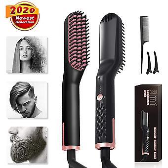skjegg rettetang børste, elektrisk skjegg rettetang kam hår rask skjegg rettetang styler kam curling varme kam for menn og kvinner