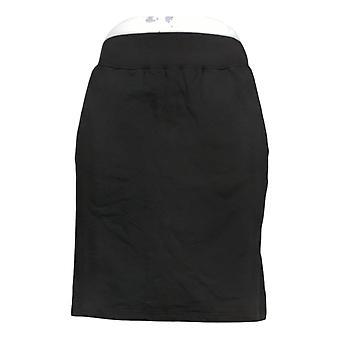 Denim & Co. Rok Pull-On Skort Pockets Zwart A238056