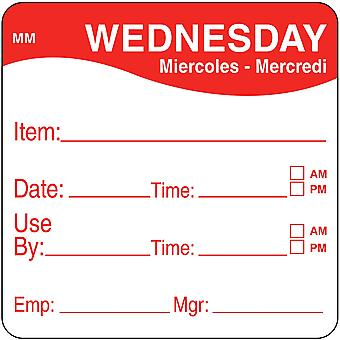 DayMark Removable Wednesday Food Labels