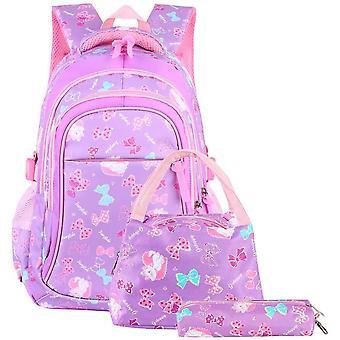 FengChun Schulranzen Mdchen Schulrucksack Schultasche Rucksack Kinder Daypack 3 Teile Set fr Schule