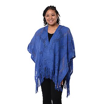 Vårkollektion - Solid Blue Colour Hollow Out Kimono med Tofs Free Size