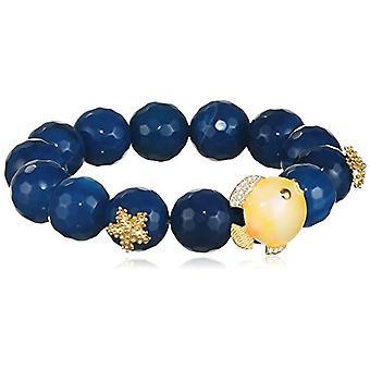 MISIS, Woman-Bracelet Angel Silver 925 White Zircons Agata Blue Enamel 20 cm - BR07766