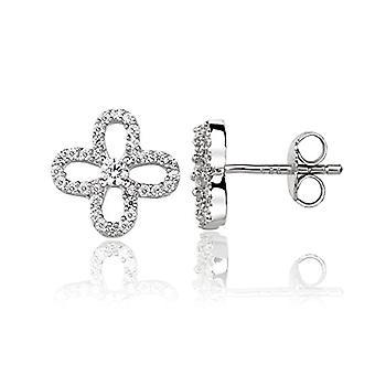 Eye Candy ECJ-ER0021 - Women's earrings, flowering, in 925 rhodium silver, with 33 white zircons of 9.6 mm
