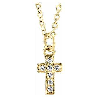 14k sárga arany kerek gyémánt I1 H + 15 inch polírozott .04 karátos gyémánt ifjúsági vallási hit kereszt nyaklánc