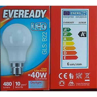 Eveready 40w LED GLS Baïonnette B22 Ampoule Lumière Du Jour , Pack de 1