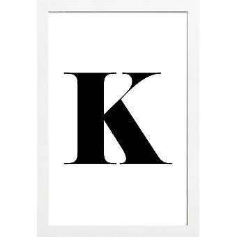 JUNIQE Print - K - Alfabet - Brev Plakat i sort / hvid