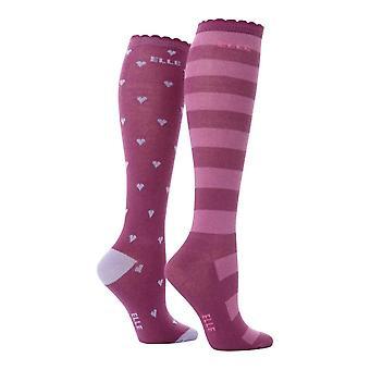 Elle - 2 pk Mädchen gemusterte Knie hohe Baumwolle Socken