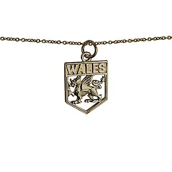9ct Gold 18x15mm Wales Badge Pendant with a cable Chain 20 inches