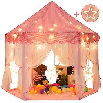55'' X 53'' Princess Tent With Large Star Lights Girls Large Playhouse Kids Castle Play Tent For Children Indoor And Outdoor Games