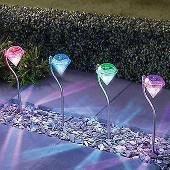 Set von 4 Solarlampe, Farbwechsel Edelstahl Diamant geformt Outdoor-Solar-Lampe