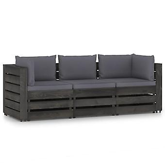 vidaXL 3-Sitzer-Gartensofa mit Kissen Grau Imprägniertes Holz