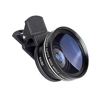 2 în 1 Clip 0.45X Super Wide Angle Cu Macro Lens HD Camera Pentru Telefon Mobil Tablet