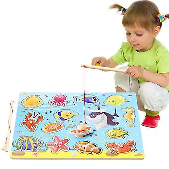 Children Fun Fishing Toy Magnetic Kids Wooden Jigsaw Puzzle Board Play Baby Educational  Toys