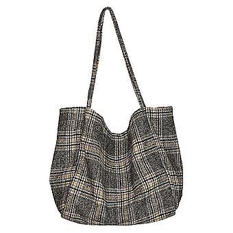 Women Vintage Shopping Tote(Black)