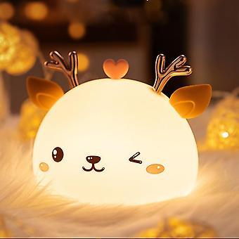 Led night light  touch sensor cute deer night lamp kids baby bedroom desktop decor ornaments battery/usb charge