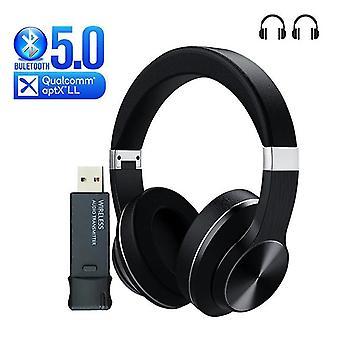 Bluetooth-hovedtelefon + USB-sender til trådløs tv-øretelefon over ørestøj Stereo