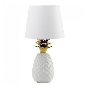 Gallery of Light White Pineapple Lamp with Gold Leaves, Pack of 1