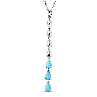 LucyQ Sleeping Beauty Turquoise Drop Necklace Sterling Silver 24 Inches 1.98ct