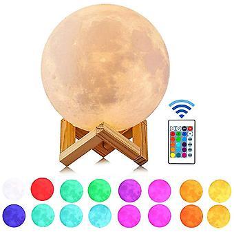 Yövalo kaukosäätimellä, jalusta- ja kosketussäätimellä ja usb-ladattavalla kuutamolla, 5,9 tuumaa 16 väriä Led 3D Printing Moon Light
