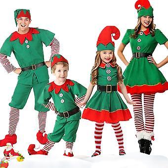 Familie Matchende Barn Voksen Jul Elf Cosplay Kostyme Fancy Kjole
