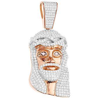 قسط بلينغ-925 الاسترليني الفضة يسوع الرأس القلادة ارتفع