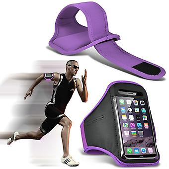ONX3 (Purple) Adjustable Sweatproof/Water Resistent Sports Fitness Running Cycling Gym Armband Phone Case For Blu Dash L3