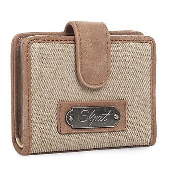 Titulaire du portefeuille sac à main de femme avec fermeture pression. 12 compartiments pour cartes et documentation. Toile et simili cuir. Broderie. 929