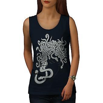 Snake Scary Art Fantasy Women NavyTank Top | Wellcoda