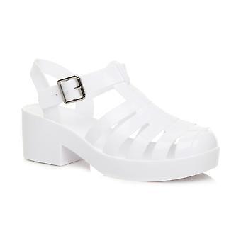 Ajvani womens låg mid block klack gummi gelé gladiator utskuren retro sandaler skor