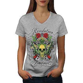 Revolution Bastards Women GreyV-Neck T-shirt   Wellcoda