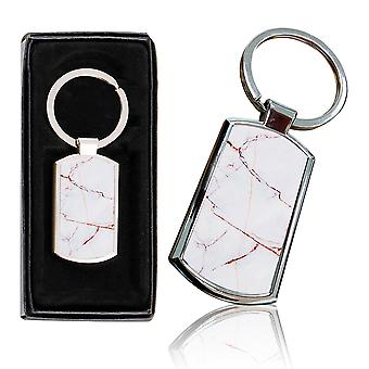 i-Tronixs - Premium Marble Design Chrome Metal Keyring with Free Gift Box (1-Pack) - 0025