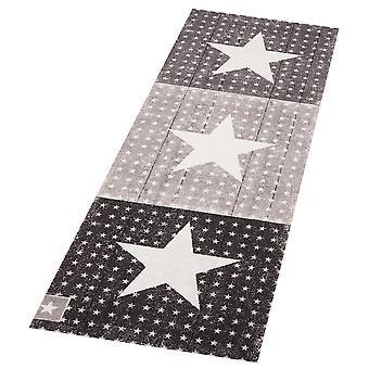 Washable runner kitchen runner star Boulevard black 45 x 140 cm