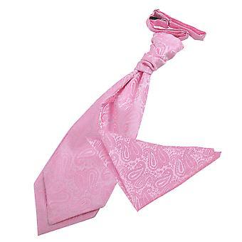 Baby Pink Paisley Wedding Cravat & Pocket Square Set